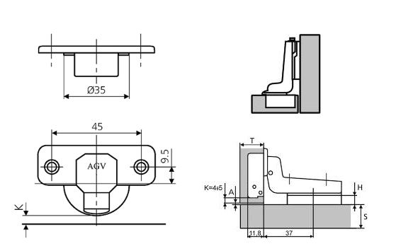 Петля мебельная АGV 15 clip-on HS с доводчиком.
