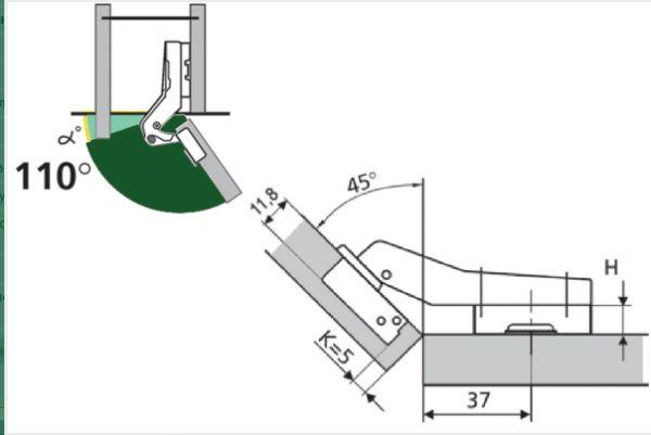 Петля мебельная АGV 45* clip-on HS с доводчиком.