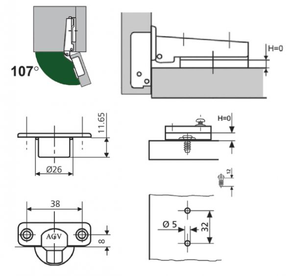 Петля мебельная AGV 107 Mini slide-on с ответной планкой h=0мм.